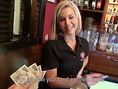 Beautiful blonde bar girl gets paid for sex and receives sticky facial