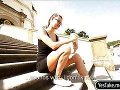 Eurobabe Katia nailed in public for cash