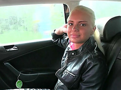 Gorgeous Iva gets paid for sex in taxi and she receives cumshot load