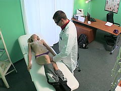 Slim girl Jenny rides doctors hard cock