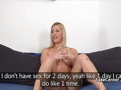 Blonde slut titfucked at casting