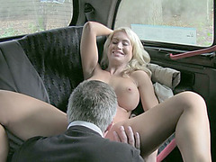 Phoebe plays with the cab driver and sucks his cock deep