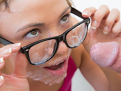 Katerina Kay gets her whole face and glasses covered in sperm!