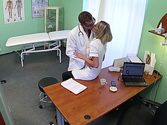 Flirty nurse Nancy gets banged by doctor