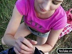 Cute chick Lara Sweet creampied outdoors