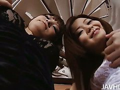 Japanese idol Nao and a horny girlfriend drive the camera guys nuts with their lingerie and upskirt shots.