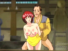 Busty Japanese hentai caught and hot poked by old guy