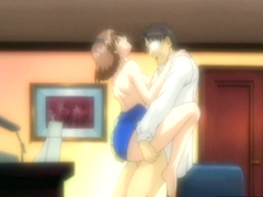 Cute hentai standing fucked with old guy