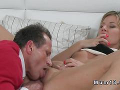 Sexy blonde Milf fucks from behind