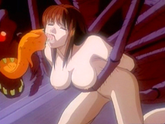 Busty Japanese anime gets spider monster fucked