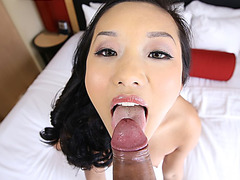 Hot Asian chick plays with my dick