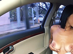 Teen Mia rides and flirts to the driver
