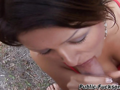 Real slut rides outdoors