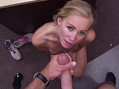 Hot blonde babe agrees to get fucked in pawn shop to get rid of her car!