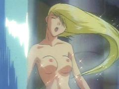 Blonde hentai taking bath and masturbate in the dungeon