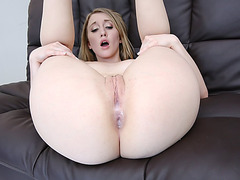 Nasty blonde Riley Reynolds creampied