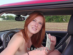 Redhead whore fucked in the open field