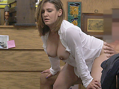 Business girl shows natural tits and gets fucked for cash