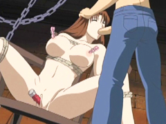 Chained hentai gets pinched her tits and dildoed pussy