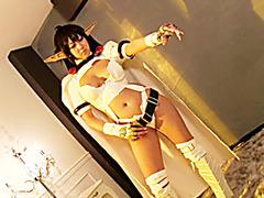 Cosplaying Hitomi Kitagawa deepthroating