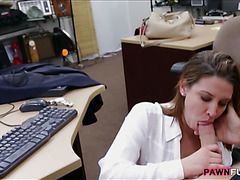 Hot business lady fucked in the pawnshop