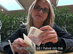 Paying a pretty blonde amateur for exposing her tits and public sex
