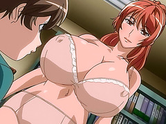 Huge titted hentai redhead