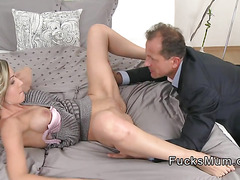 Blonde Milf gets ass and pussy licked