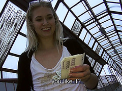 Lovely amateur Violette Pink gets persuaded to have public nudity