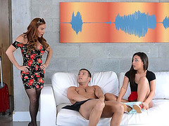 Teen Amara and her lover gets caught having sex by MILF Diamon