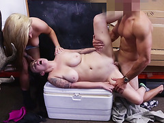 Lesbian dating couple ends up in threesome and share a big fat cock