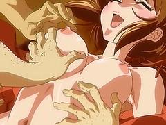 Hentai girl gets gangbanged