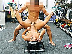 Muscular chick does nude workout to sell