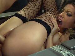 Flight attendant Jenna Haze ass fucked