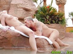 Blonde babe gets oral sex