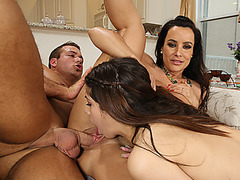 Lovely babes Ava Taylor and Lisa Ann needed a huge cock