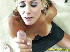 Bigtit cougar blonde tugging his dick