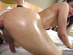 TS in bridal gown anal fucked real hard