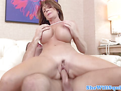 Busty redhead milf squirts while fucking