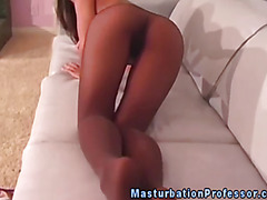 Pantyhose ethnic lover rubs her pussy