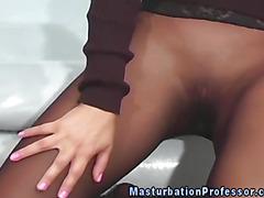 Nylong loving asian rubs herself underneath her skirt