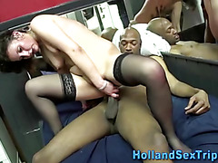 Dutchie whore takes big black cock