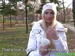 Blonde amateur shows tits for cash