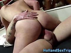 Chubby hooker gets cumshot