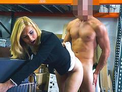 Blonde MILF fucks hard dick