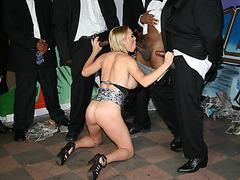 Booby Krissy Lynn sucks many black dicks