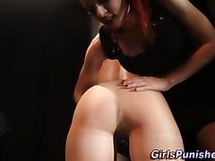 Fetish lesbian domina spanks ass