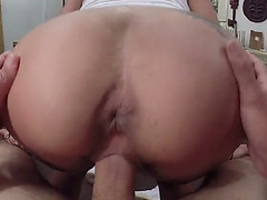 Big tits latina sits on pawnkeepers cock