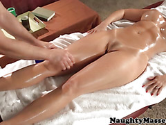 Massageparlour babe feeds on his cock
