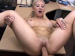 Horny hottie getting banged by huge meaty dick